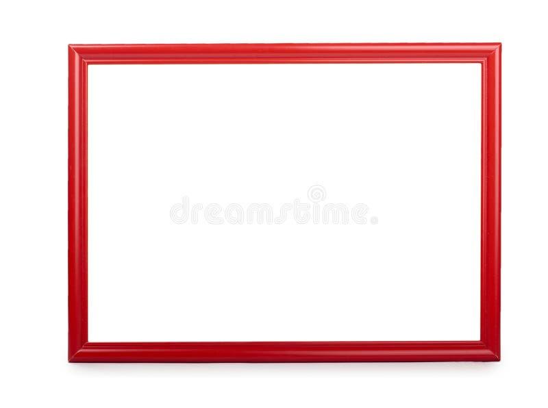 Hölzerner roter Fotorahmen Getrennt auf weißem Hintergrund stockbild