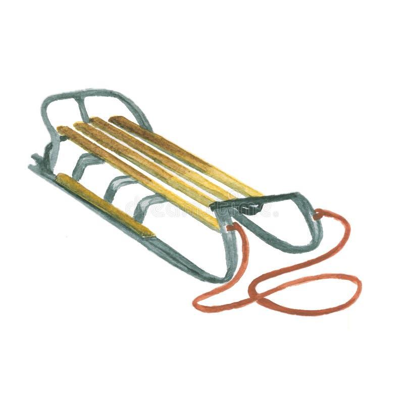 Hölzerner Schlitten mit einem Seil lizenzfreie abbildung