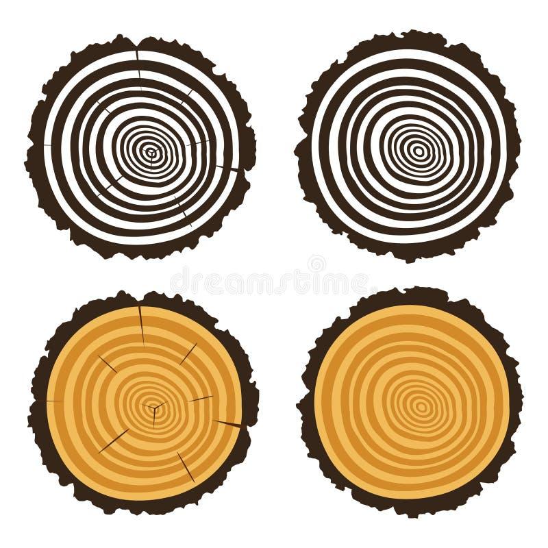 Hölzerner Schnitt eines Baumklotzes mit konzentrischen Ringen lizenzfreie abbildung