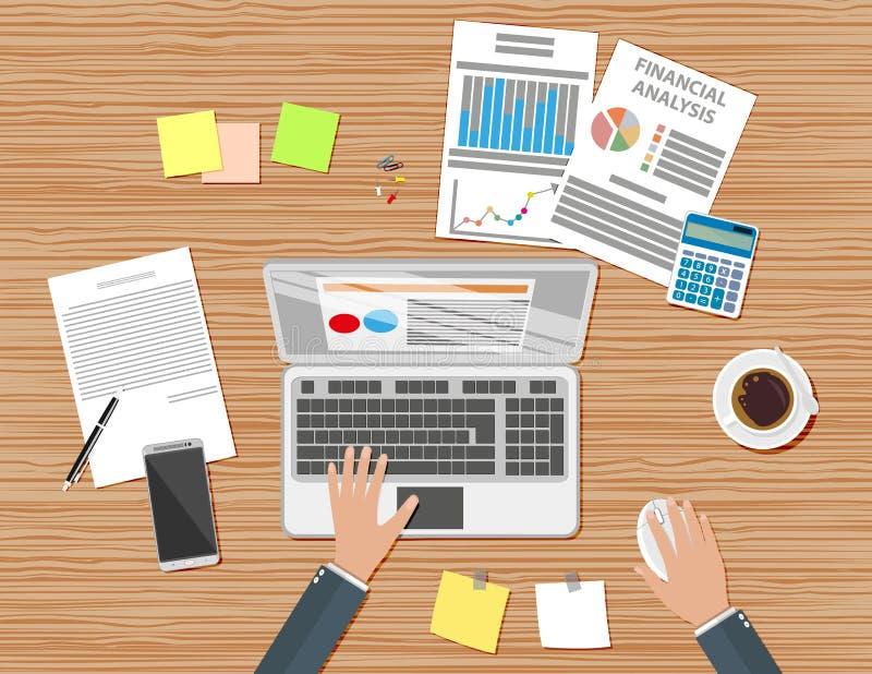 Hölzerner Schreibtisch des Geschäftsmannarbeitsplatzes stock abbildung