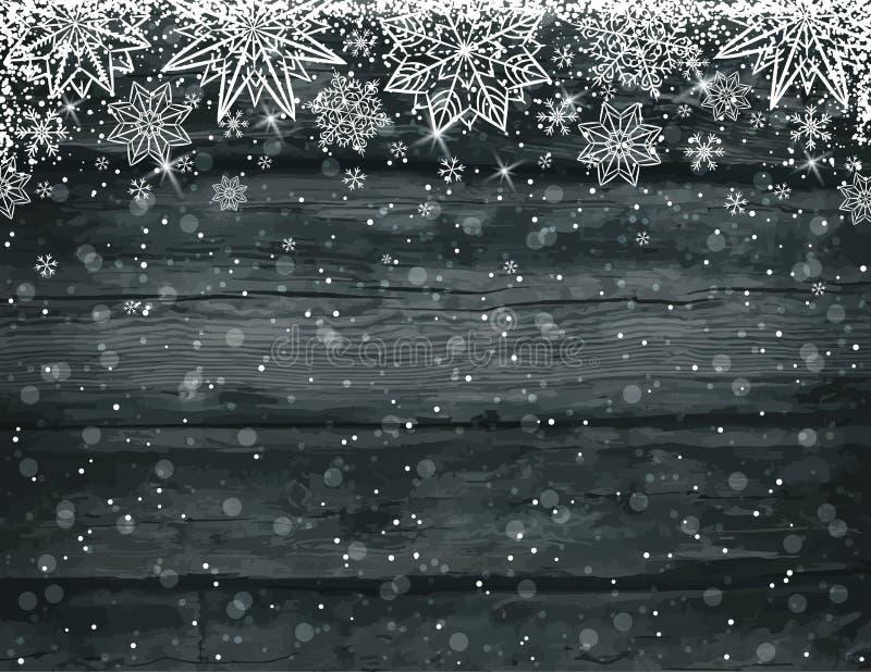 Hölzerner schwarzer Weihnachtshintergrund mit Schneeflocken stock abbildung