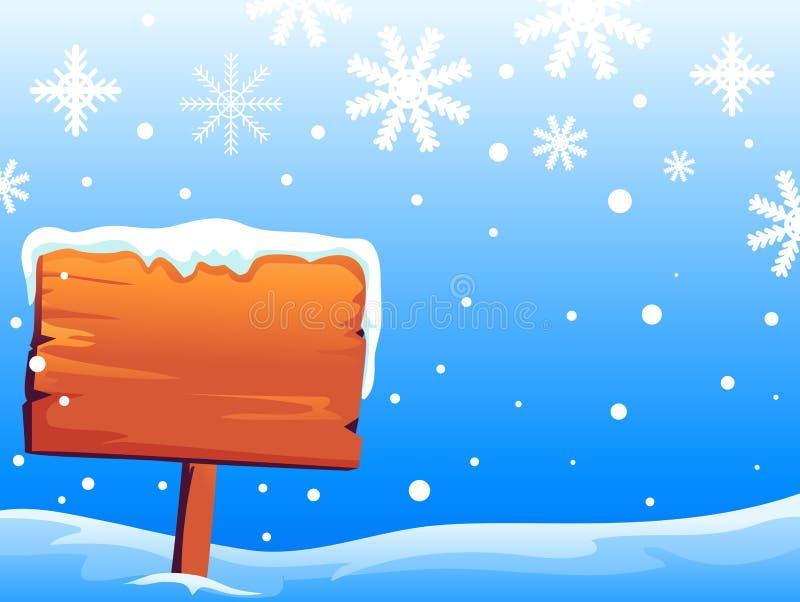 Hölzerner Signage auf Snowy-Hintergrund stock abbildung