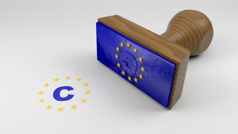 Hölzerner Stempel mit der EU-Flagge und einem Copyrightsymbol stock abbildung
