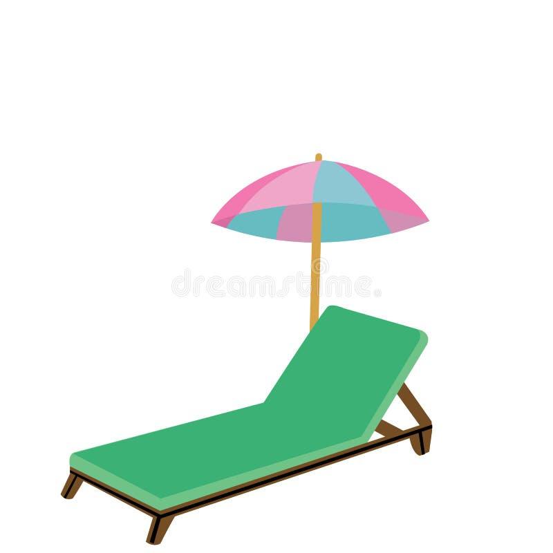 Hölzerner Strandstuhl und -regenschirm vektor abbildung