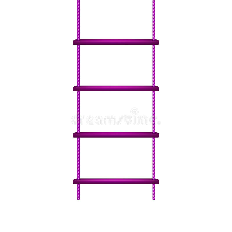 Hölzerner Strickleiter im purpurroten Design stock abbildung