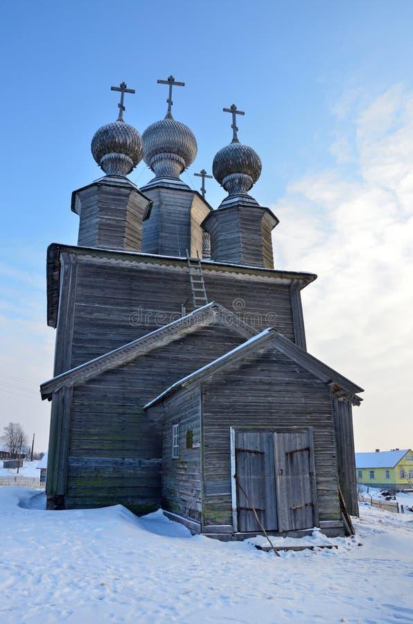 Hölzerner Tempelkomplex, Kirche von Sankt Nikolaus, 1636-jähriges errichtet Vorzogory-Dorf, Arkhangelsk-Region, Russland lizenzfreies stockbild