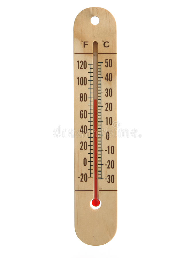 Hölzerner Thermometer stockfoto