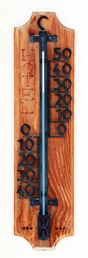 Hölzerner Thermometer stockfotografie