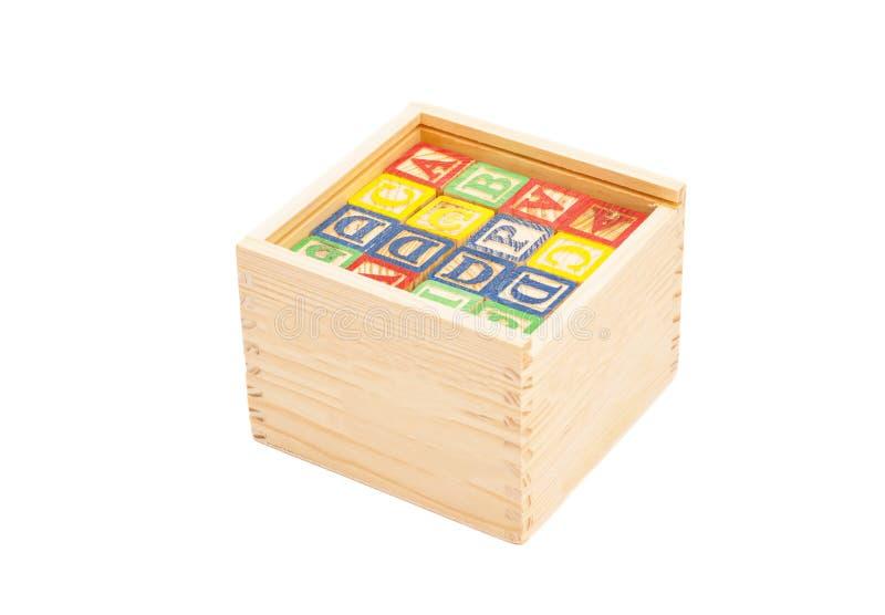 Hölzerner Toy Cubes With Letters On-Kasten stockbild