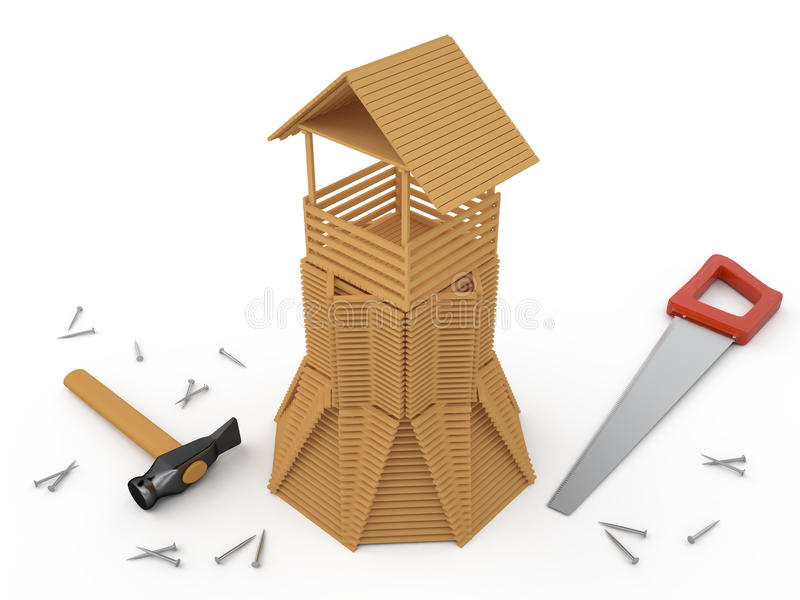 Hölzerner Turm und Werkzeuge, 3D stock abbildung