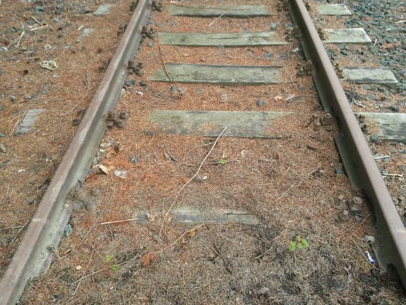 Hölzerner und Stahleisenbahnliniebau verlassen stockbilder