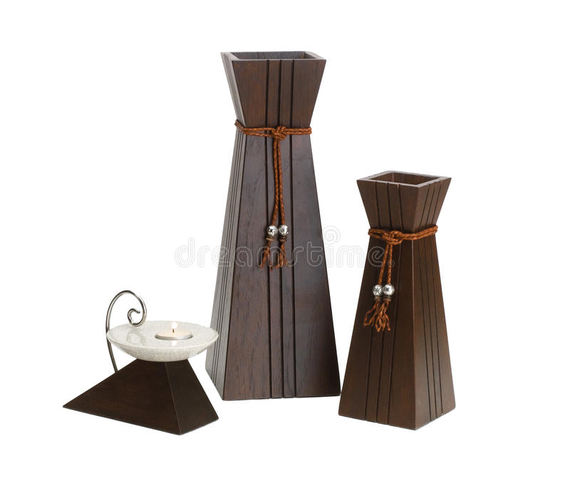 Hölzerner Vase stockfoto