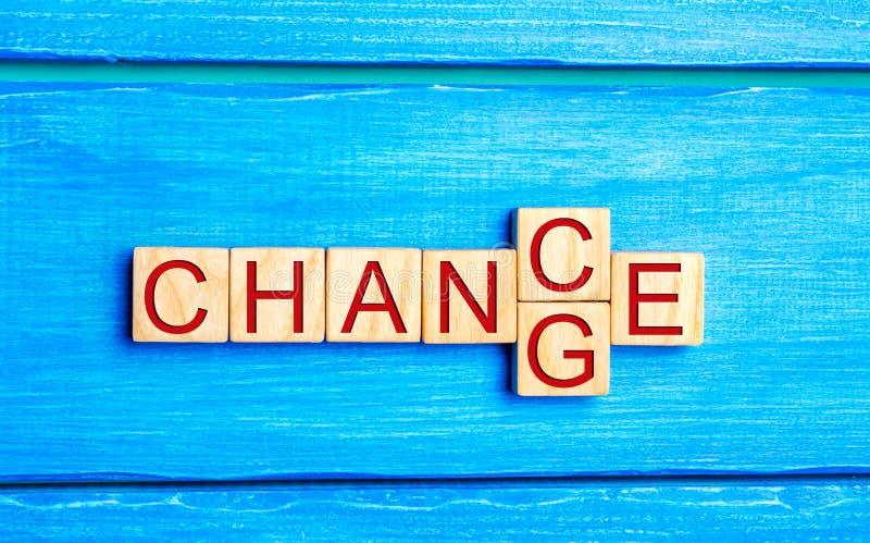 Hölzerner Würfel mit Wort ` Änderung ` zu ` Möglichkeit ` auf hölzerner Tabelle Konzept persönliche Entwicklung und des Karrierew lizenzfreie stockfotografie
