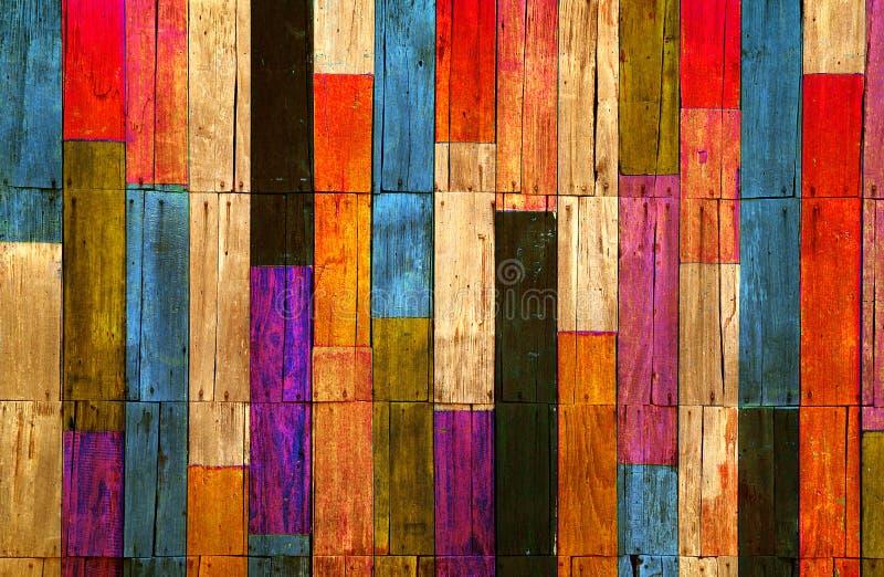 Hölzerner Wandhintergrund der Farbe stock abbildung
