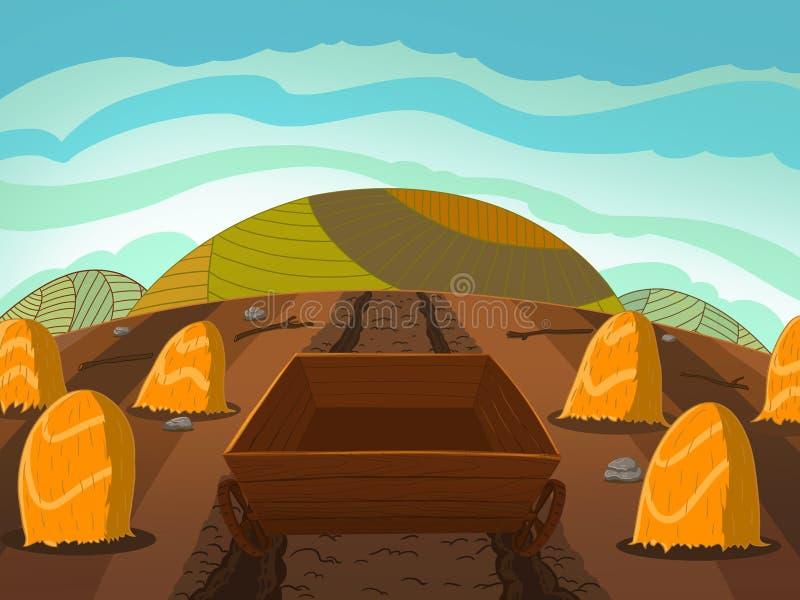 Hölzerner Warenkorb auf dem Mais-Feld stock abbildung
