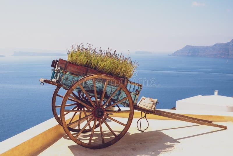 Hölzerner Warenkorb der netten Weinlese mit Ozeanküstenlinienhintergrund, Oia, Santorini lizenzfreies stockfoto
