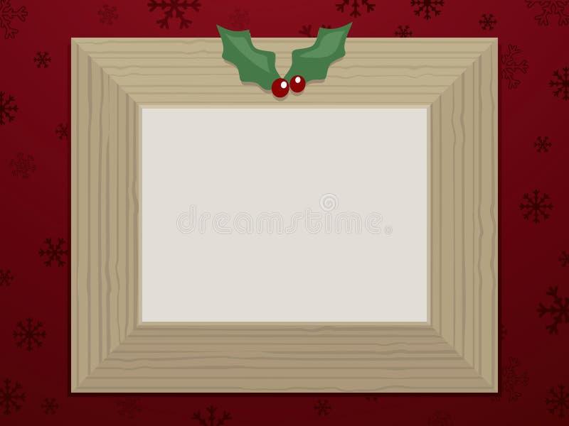 Hölzerner Weihnachtsbilderrahmen vektor abbildung