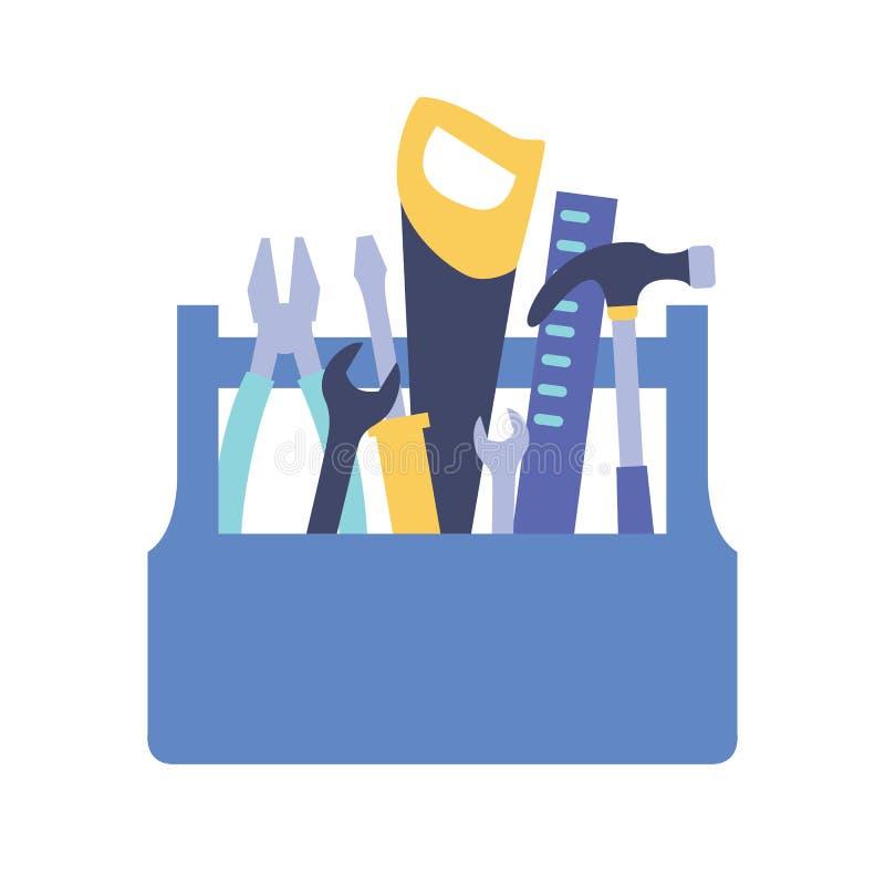Hölzerner Werkzeugkasten mit Griff voll von Werkzeugen für Hauptinstandhaltung - Hammer, Säge, Schlüssel, Schraubenzieher, Machth lizenzfreie abbildung