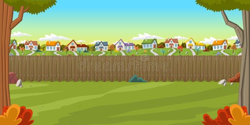 Hölzerner Zaun auf dem Hinterhof eines bunten Hauses vektor abbildung