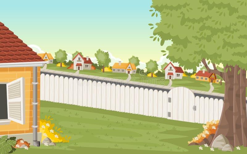 Hölzerner Zaun auf dem Hinterhof eines bunten Hauses in der Vorortnachbarschaft stock abbildung