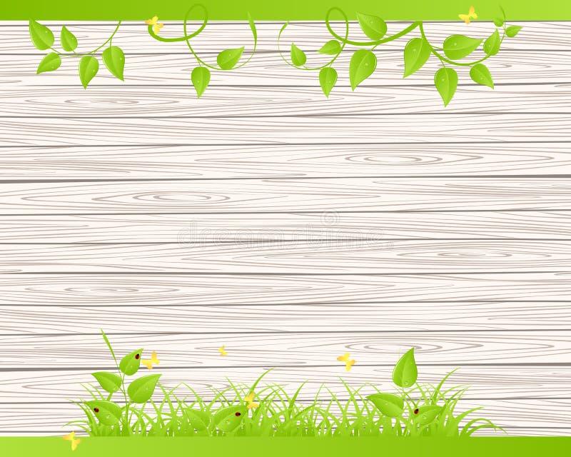 Hölzerner Zaun mit Gras lizenzfreie abbildung