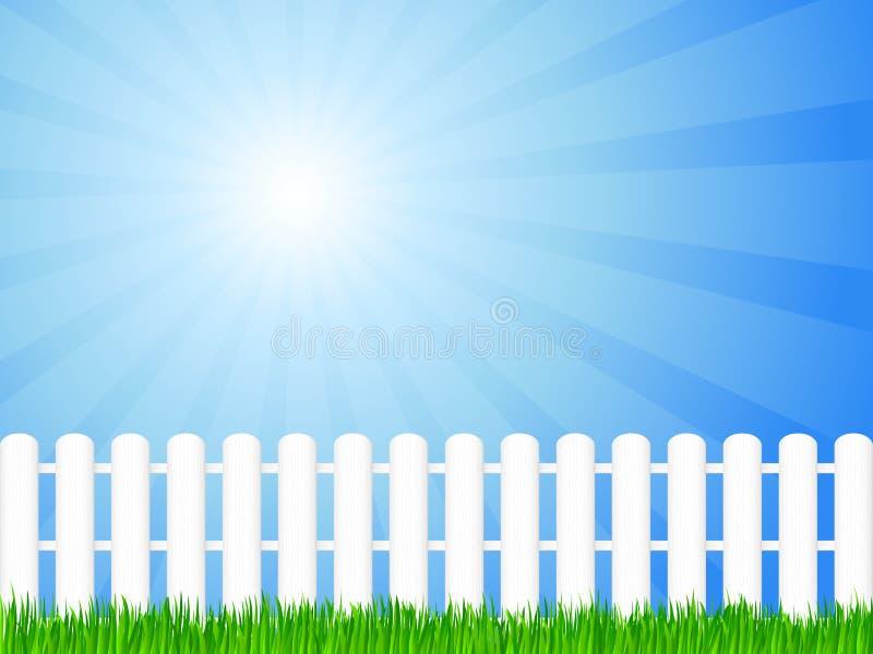 Hölzerner Zaun und Gras stock abbildung