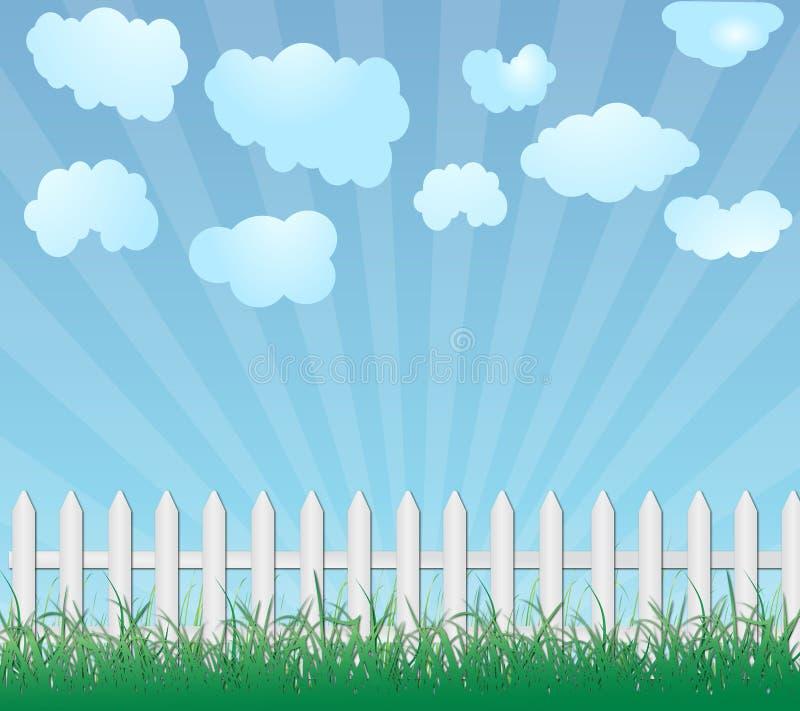 Hölzerner Zaun und Gras vektor abbildung