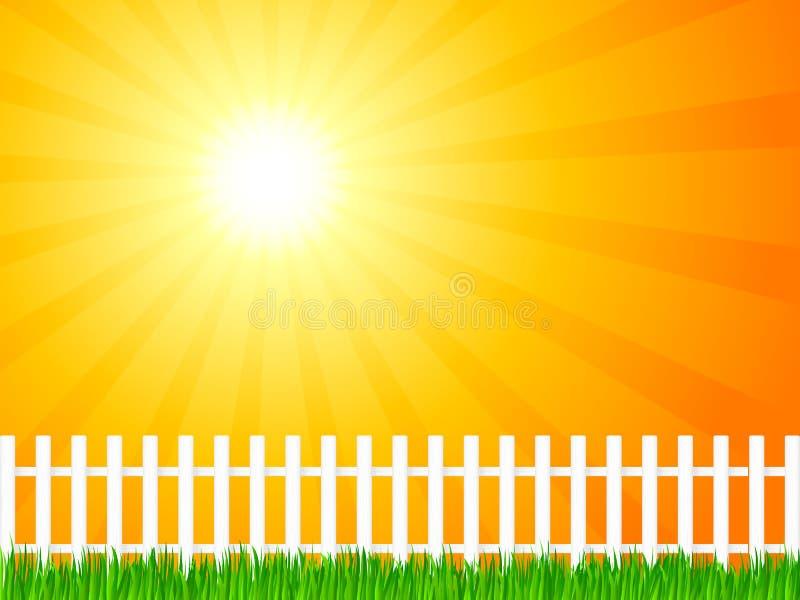 Hölzerner Zaun und Gras 6 stock abbildung