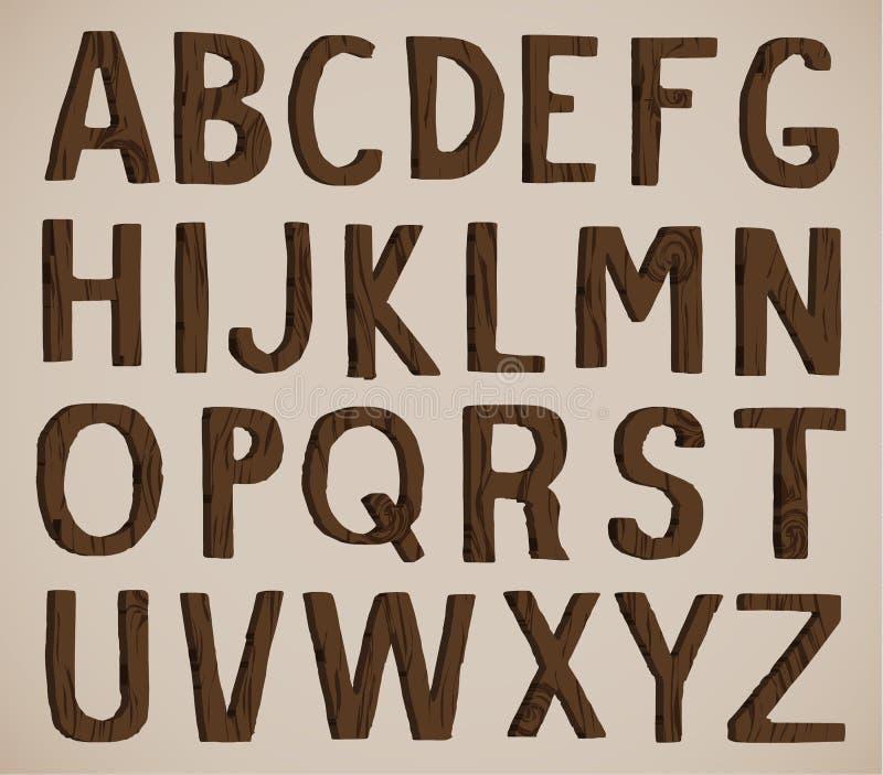 Hölzernes Alphabet lizenzfreie abbildung