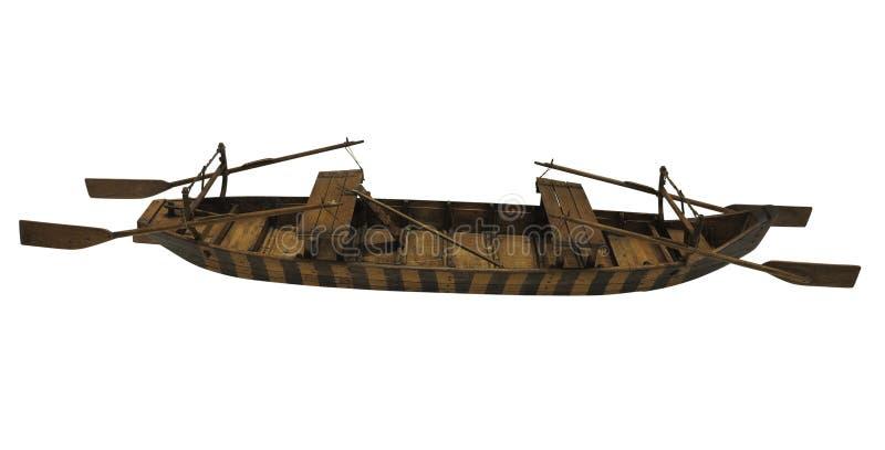 Hölzernes altes altes Schiffchenmodell lokalisiert auf weißem Hintergrund stockbilder