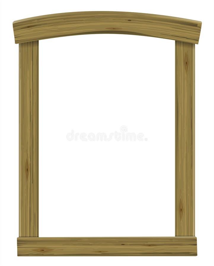 Hölzernes antikes Fenster oder Türrahmenbogen stock abbildung