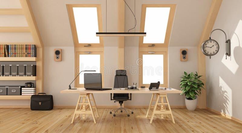 Hölzernes Büro im Dachboden stock abbildung