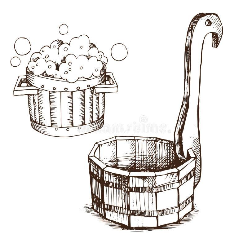 Hölzernes Becken, Fass mit Seifenschaum, hölzerner Eimer für russisches Bad für Körperhygiene Satz Zubehör für Bad, Sauna stock abbildung