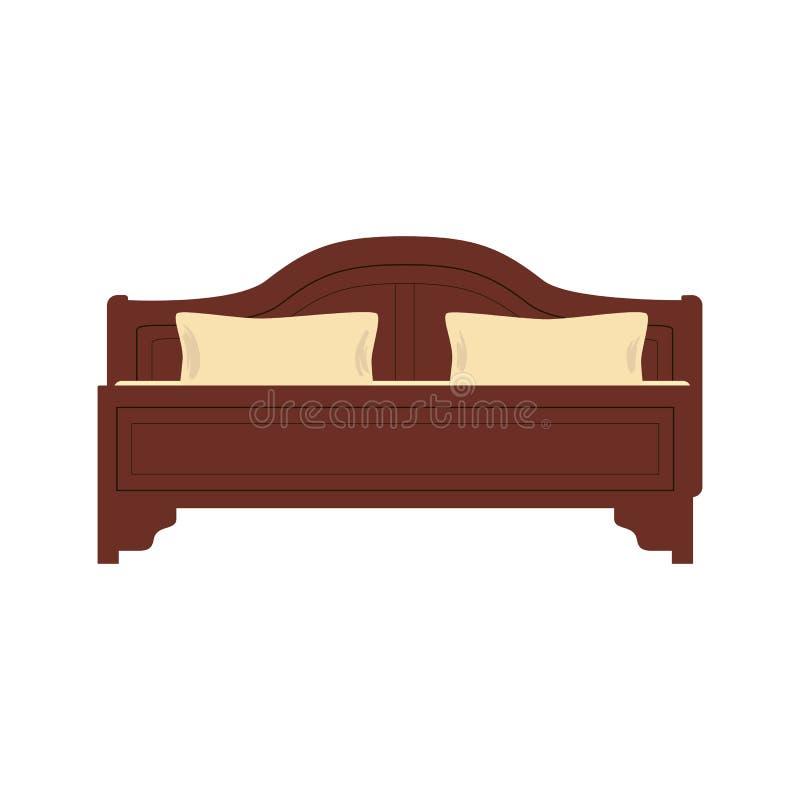 Hölzernes Bett für eine Person mit einem Kissen und einer Decke in einer flachen Art Vektorillustration lokalisiert auf Weiß vektor abbildung