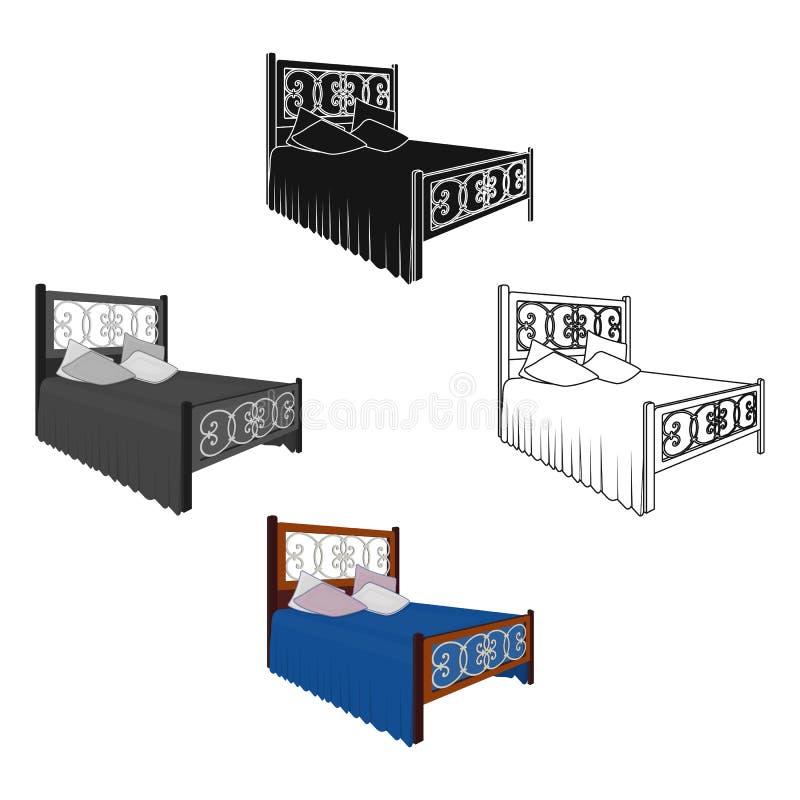 Hölzernes Bett für Jugendlichen mit Graffiti auf der Rückseite Bett mit blauen Leinen Betten Sie einzelne Ikone im Karikaturart-V lizenzfreie abbildung
