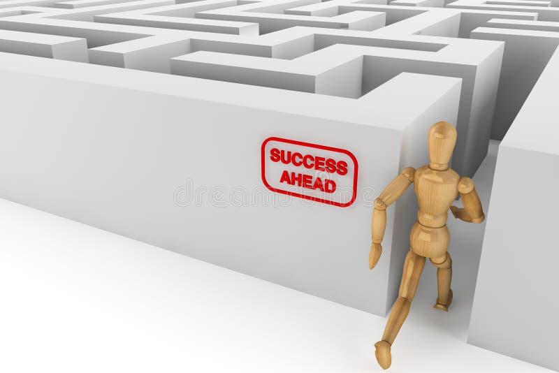 Hölzernes blindes Runing zum Erfolg im Labyrinth lizenzfreie stockfotografie