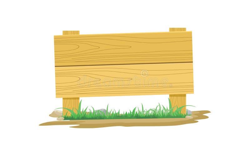 Hölzernes Brett-Ikone mit Gras und Steinvektor-Illustration lizenzfreie abbildung