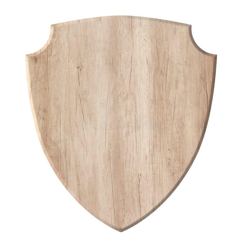 H?lzernes Brett mit der Verteidigungsschutz-Schildform gemacht vom nat?rlichen hellen Holz lizenzfreie stockfotografie