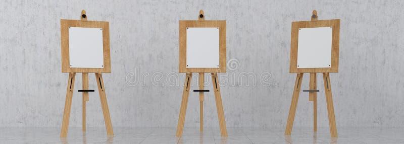 Hölzernes Brown Sienna Easel mit Spott herauf leeres leeres Segeltuch Isolat stock abbildung