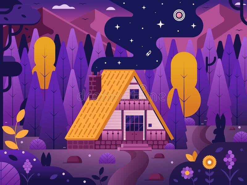 Hölzernes Chalet-Haus im Wald lizenzfreie abbildung