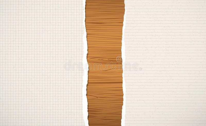Hölzernes choppin Browns, Schneidebrett, Planke mit zerrissen gezeichnetes und quadratisches Notizbuchpapier vektor abbildung