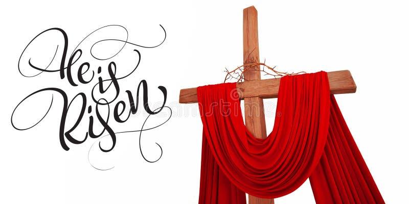 Hölzernes christliches Kreuz mit Dornenkrone und Text wird er gestiegen Kalligraphiebeschriftung lizenzfreie abbildung