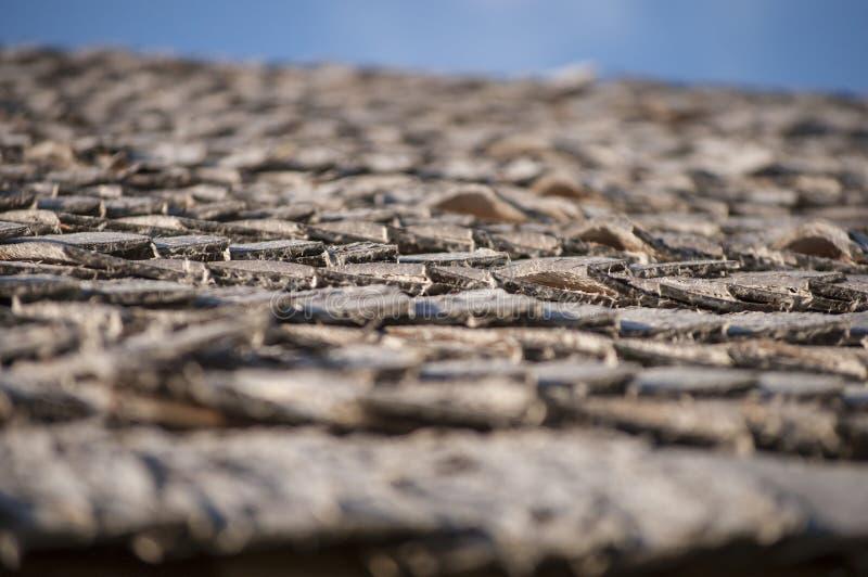 Hölzernes Dach der Espe verschalt für Blockhaus im Sonnenlicht lizenzfreies stockfoto