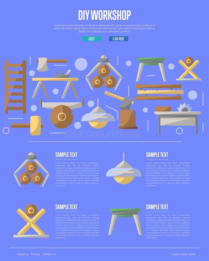 Hölzernes diy Werkstattplakat in der flachen Art vektor abbildung