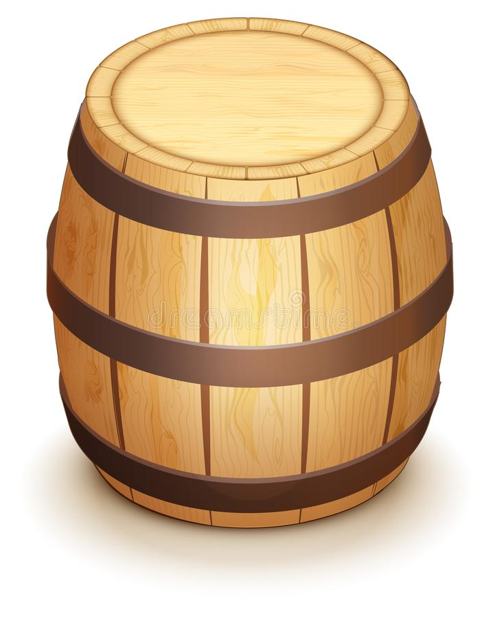 Hölzernes Eichenfaß für Weinstand vertikal Lokalisiert auf Weiß stock abbildung