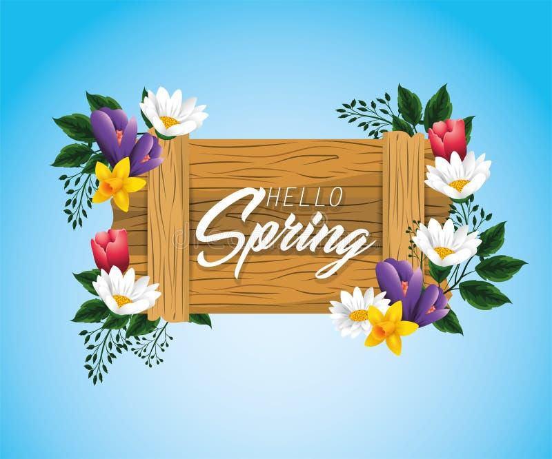 Hölzernes Emblem des Frühlinges mit Blumen und Niederlassungsblättern lizenzfreie abbildung