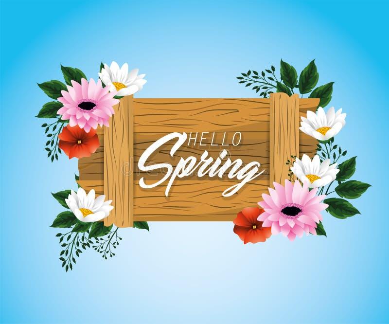 Hölzernes Emblem des Frühlinges mit exotischen Blumen vektor abbildung