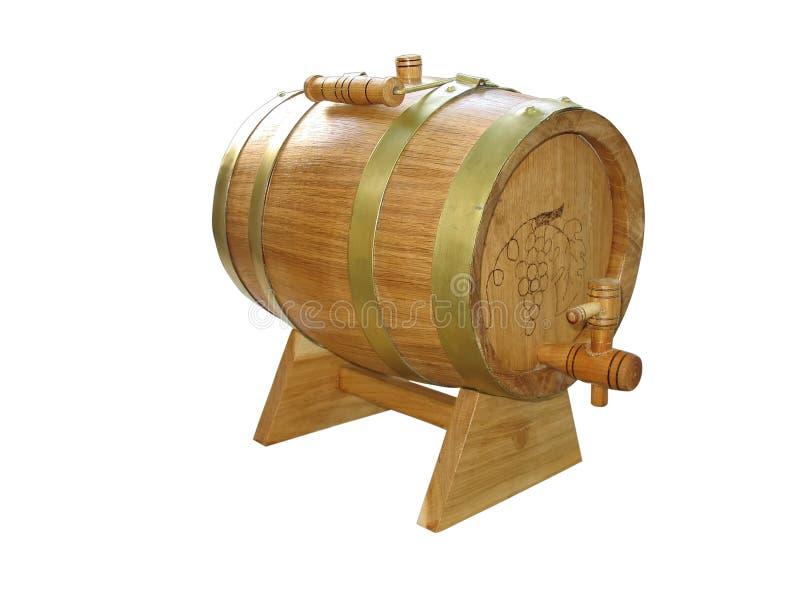 Hölzernes Faß für den Wein getrennt über Weiß stockbild