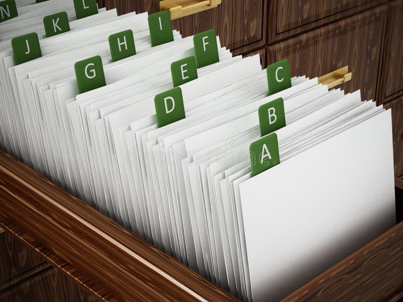 Hölzernes Fach des Bibliothekskataloges mit Buchstaben Abbildung 3D lizenzfreie abbildung
