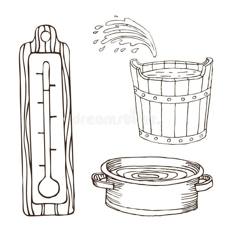 Hölzernes Fass, Becken mit Wasser, Thermometer für das Bad für Körperhygiene Satz Zubehör für Bad, Sauna Hand stock abbildung